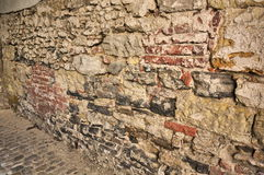 Praag, hoger Kasteel - Metselwerkmuur Voor achtergrond Stock Foto's