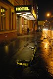 Praag, hotel CITI CENTRAAL in Sokolska-straat royalty-vrije stock afbeeldingen