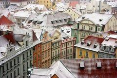 Praag onder sneeuw. royalty-vrije stock afbeelding