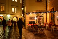 Praag, Oude Stad, Kerstmisseizoen stock foto's