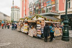 Praag, 25 September, 2017: Viering van de markt van de de Straat traditionele markt van de de herfstoogst in het stadsvierkant me Royalty-vrije Stock Foto