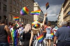 Praag/Tsjechische Republiek - 11 Augustus 2018: LGBT Pride March stock fotografie