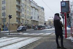 Praag, Tsjechische Republiek - 10 de Gebruikelijke dag van Januari 2017 in de stad Royalty-vrije Stock Foto's