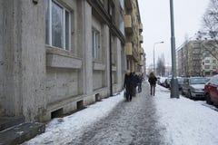 Praag, Tsjechische Republiek - 10 de Gebruikelijke dag van Januari 2017 in de stad Stock Afbeelding