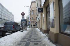Praag, Tsjechische Republiek - 10 de Gebruikelijke dag van Januari 2017 in de stad Stock Foto