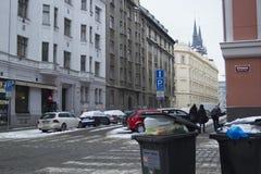 Praag, Tsjechische Republiek - 10 de Gebruikelijke dag van Januari 2017 in de stad Stock Foto's
