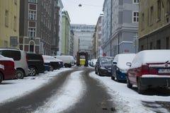 Praag, Tsjechische Republiek - 10 de Gebruikelijke dag van Januari 2017 in de stad Royalty-vrije Stock Foto