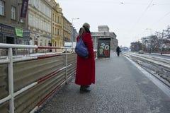 Praag, Tsjechische Republiek - 10 de Gebruikelijke dag van Januari 2017 in de stad Stock Fotografie