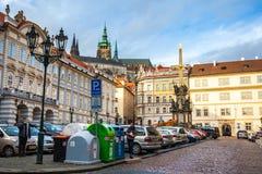 24 01 2018 Praag, Tsjechische Republiek die - door de straten lopen Royalty-vrije Stock Afbeeldingen