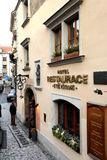 Praag, Tsjechische Republiek - 27 Januari, 2014: Detail van het restaurant Royalty-vrije Stock Foto