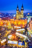 Praag, Tsjechische Republiek - Kerstmismarkt royalty-vrije stock fotografie