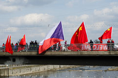 Praag, Tsjechische republiek - Maart, 28ste 2016: Chinese Voorzitter Xi Stock Afbeelding