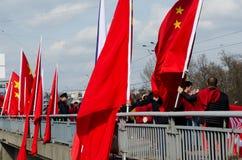 Praag, Tsjechische republiek - Maart, 28ste 2016: Chinese Voorzitter Xi Stock Fotografie