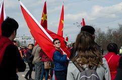 Praag, Tsjechische republiek - Maart, 28ste 2016: Chinese Voorzitter Xi Stock Foto
