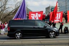 Praag, Tsjechische republiek - Maart, 28ste 2016: Chinese Voorzitter Xi Royalty-vrije Stock Foto