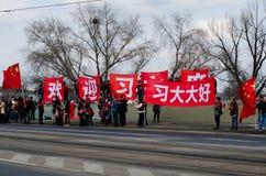 Praag, Tsjechische republiek - Maart, 28ste 2016: Chinese Voorzitter Xi Royalty-vrije Stock Fotografie