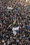 PRAAG, TSJECHISCHE REPUBLIEK - 15 MEI, 2017: Demonstratie op het vierkant van Praag Wenceslas tegen de huidige overheid en Babis Royalty-vrije Stock Foto's