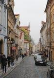 Praag; Tsjechische Republiek; 18 oktober, 2017; Een mening onderaan Nerudo royalty-vrije stock fotografie