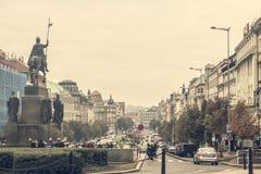 Praag, Tsjechische Republiek - 16 Oktober, 2016: Wenceslas Square in P stock foto