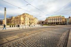 24 01 2018 Praag, Tsjechische Republiek - Rudolfinum die op Januari P voortbouwen Royalty-vrije Stock Fotografie