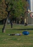 Praag, Tsjechische Republiek - 10 September, 2019: gewaagde Mensenslaap op het gras in een zonnige dag bij kampapark royalty-vrije stock fotografie
