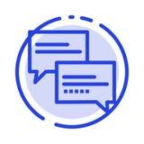 Praatje, Commentaar, Bericht, de Lijnpictogram van de Onderwijs Blauw Gestippelde Lijn royalty-vrije illustratie