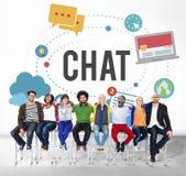 Praatje die het Online Concept van de Overseinentechnologie babbelen Royalty-vrije Stock Afbeeldingen