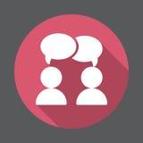 Praatje, forum vlak pictogram Ronde kleurrijke knoop, cirkel vectorteken met lang schaduweffect royalty-vrije illustratie