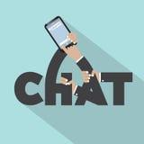 Praatje op Mobiel Typografieontwerp Royalty-vrije Stock Afbeeldingen