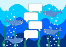 Praatjeachtergrond met haaien in het overzees Stock Afbeelding