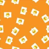 Praatjebel op mobiel bericht en de sociale achtergrond van het netwerk naadloze patroon Glimlach op praatjebel op oranje patroon stock illustratie