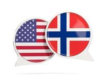 Praatjebellen van V.S. en Noorwegen op wit worden de geïsoleerd dat Stock Foto
