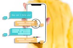 Praatjebot medewerker voor toekomst royalty-vrije stock afbeeldingen