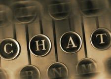 PRAATJEwoord op de Uitstekende Schrijfmachine Stock Afbeelding