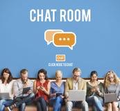 Praatjezaal Online Overseinen Communicatie Verbindingstechnologie C Stock Foto