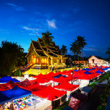 prabang luang Лаоса Известный рынок ночи Стоковые Изображения