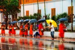 prabang luang Лаоса Милостыни уступая утро Стоковые Изображения RF