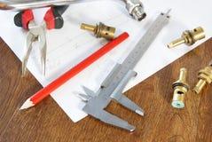 Prac narzędzia i dodatkowe części dla dostawy wody Zdjęcie Royalty Free