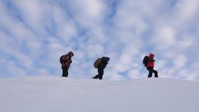 Prac zespołowych ludzie w trudnych warunkach arywiści zespalają się w zimie iść wierzchołek góra Podróżnicy podążają jeden inny zdjęcie wideo