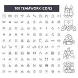 Prac zespołowych editable kreskowe ikony, 100 wektorów set, kolekcja Pracy zespołowej czerni konturu ilustracje, znaki, symbole royalty ilustracja