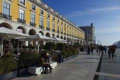 Praca做Commercio里斯本葡萄牙 免版税图库摄影