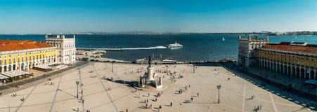 Praca在里斯本做Comercio或商务正方形 免版税库存照片