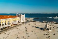 Praca在里斯本做Comercio或商务正方形 库存图片