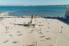 Praca在里斯本做Comercio或商务正方形 库存照片