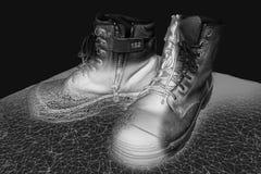 Praca butów 3D model pokazuje wireframe ilustracja wektor