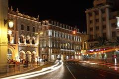 Praca d. Pedro IV at night, Lisbon Royalty Free Stock Photos