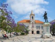 Praca da Republic in Aveiro, Portugal.Beira Litoral. Aveiro, Portugal - June 22, 2016. Camara Municipal de Aveiro (Common Hall) and  Jose Estevao Magalhaes Stock Image