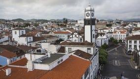 Praca da Republica顶视图在Ponta Delgada,亚速尔群岛 免版税库存图片