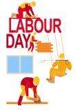 Praca dnia pracowników sztandaru 1 Maja kartki z pozdrowieniami plakatowa ilustracja święto pracy pracownicy w akcji ilustracji