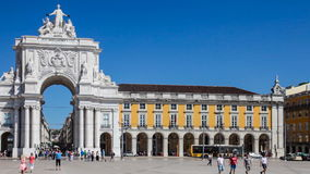 Praca do Comercio and Arch in Lisbon. Lisbon, Portugal. August  31, 2014: Commerce Square, Praca do Comercio or Terreiro do Paco, with the iconic Triumphal Arch stock video footage